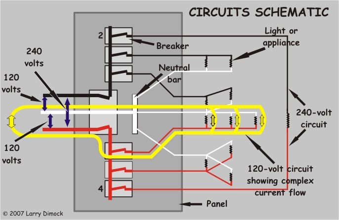 diagram of circuit in home (yellow arrows show current ... household wiring color code household wiring diagram