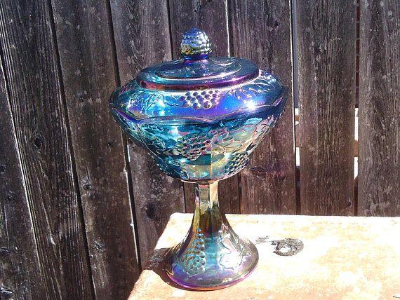 Vintage Indiana Glass Blue Harvest Carnival Wedding