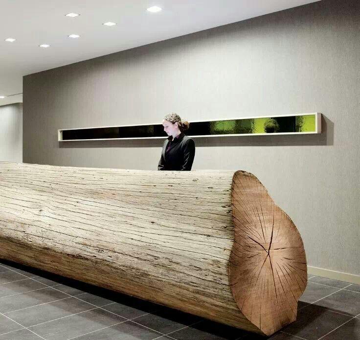 25 foot Eucalyptus Tree Log as Hotel Reception Table