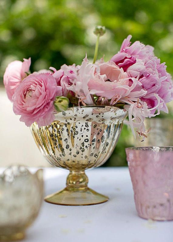 Gold Mercury Glass Compote Pedestals Vases Centerpieces Flower