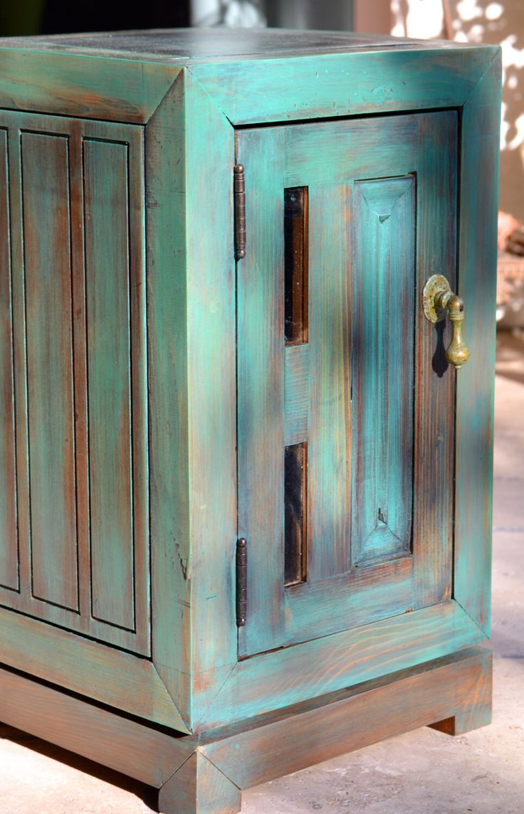 Reclaimed Wood Vintage Cabinet Stained Glass Door Inserts