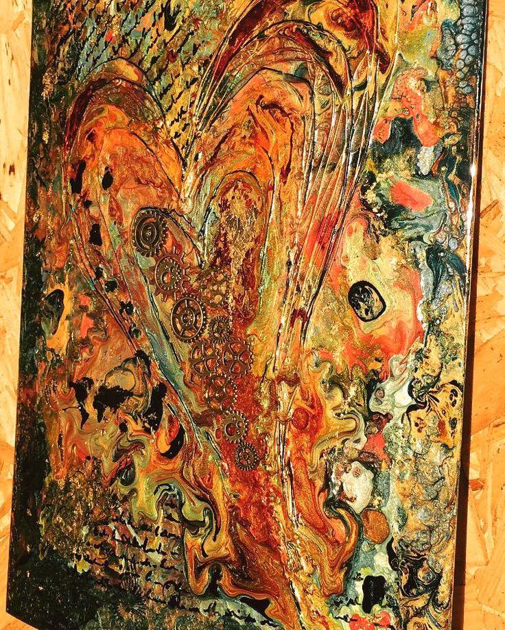 """""""Kärlek är livets kugghjul"""" Pebeo med bladguld. Original 21x29,7 cm."""