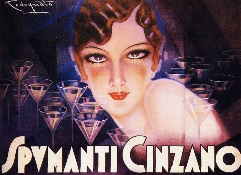 Vintage Italian Posters ~ #illustrator #Italian #vintage #posters ~ Cinzano, the vermouth to the first, in 1910, the second for champagne, 1933