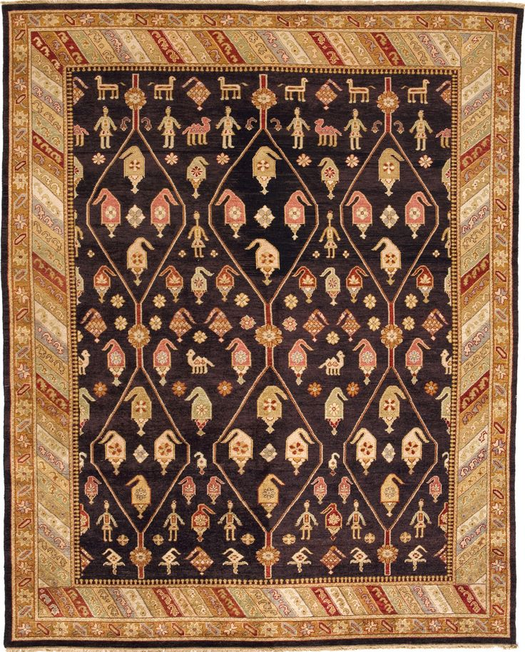 Due Process Le Trading Jinan Kuba Brown Gold Area Rug 11 X 18 Ft