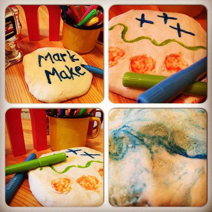 Mark making on playdough. Use 2 cups of flour, 1 of salt and 1 of water. If you add a bit of glycerine it will make your dough really smooth! The best felt tips are the fat water based ones. Gloucestershire Resource Centre http://www.grcltd.org/home-resource-centre/