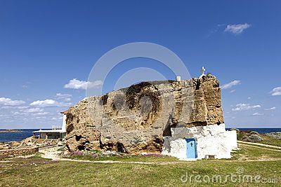 Chapel of Saint Nicolas (Agios Nikolaos) carved in stone, in the island of Skyros, northern Aegean sea, Greece, Europe.