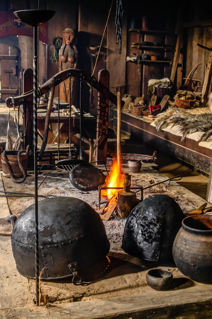Inside reconstructed Viking house, fireplace, in Ribe, Denmark, by jorgen norgaard on 500px