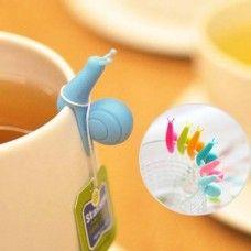 Pohárjelölő és teafilter tartó egyben szilikonból - vicces színes csigák