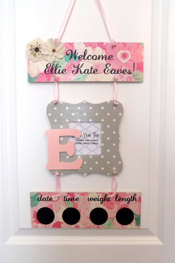 Welcome Baby Girl Pink & Gray Floral Hospital Door Hanger