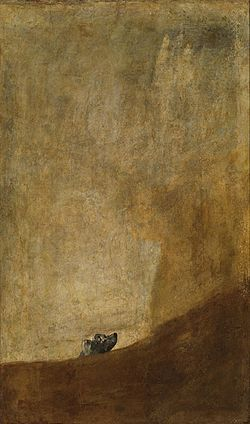 Франциско Гойя Собака. 1819—23 Perro semihundido Настенная живопись, перенесённая на холст. 131 × 79 см Прадо, Мадрид