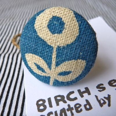 ring- handprinted poppy in teal by BIRCHseed