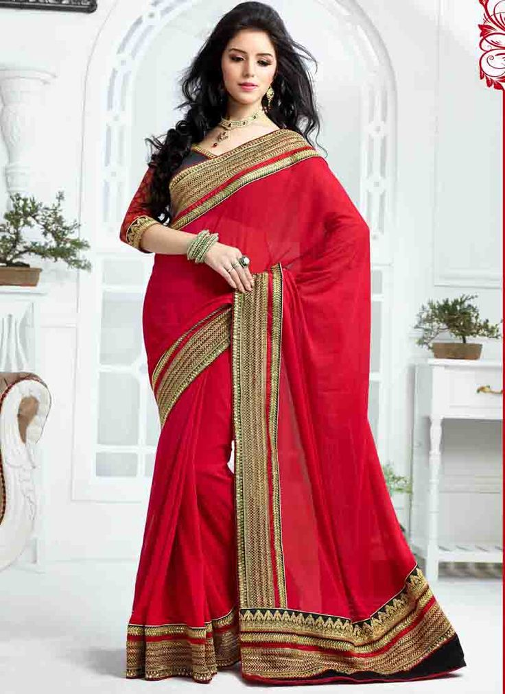Product code 20378, Brilliant red saree with broad patch border. Simple yet stylish. See more on our website
