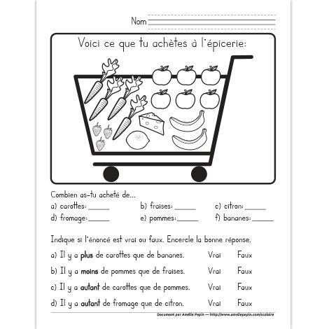 Fichier PDF téléchargeable En noir et blanc seulement 1 page  À partir du contenu d'un panier d'épicerie, les élèves comptent le nombre de chacun des éléments présents puis ils les comparent pour apprendre les termes ''plus de'', ''moins de'' et ''autant de''.