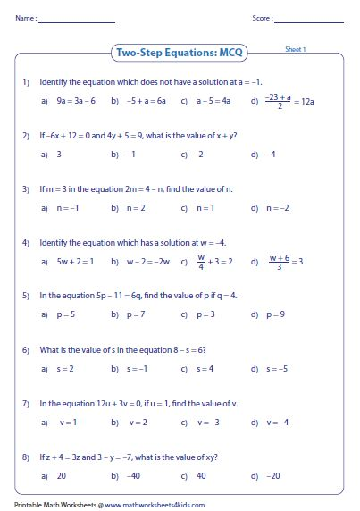 2 Step Equations Worksheets 8th Grade   Algebra equations ...