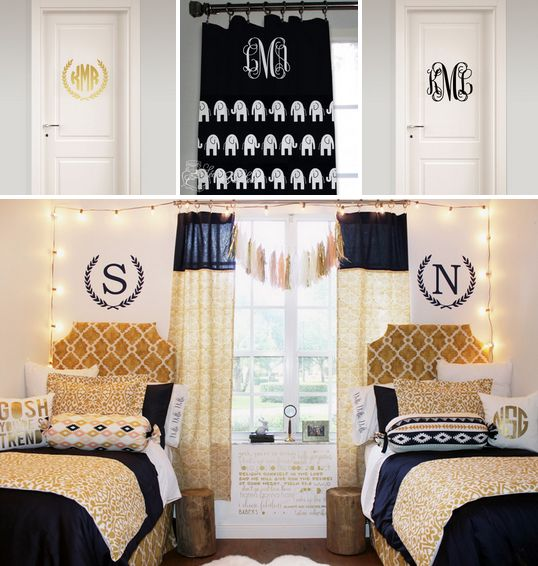 Sweet on gorgeous BLACK & GOLD sorority room decor from Decor 2 Ur Door!! ★ <3 ★ http://www.decor-2-ur-door.com