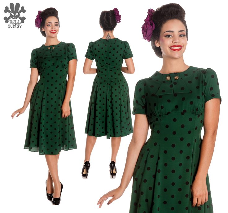 Hell Bunny Madden Dress in Green