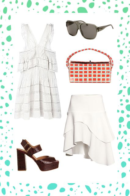 Even more frills, tiers, and ruffles. With a knee-length skirt underneath that fills out the bottom of the dress, a short sundress becomes even more dramatic. Wear structured accessories, lest you become too cupcake-like.