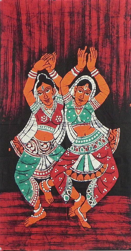 Vaishnava+Dancers+(Batik+Painting+on+Cotton+Cloth+-+Unframed)