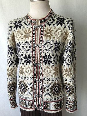 """Dale of Norway Hand Knitted Cardigan Sweater with """"Silver"""" Hand Crafted Hooks M 