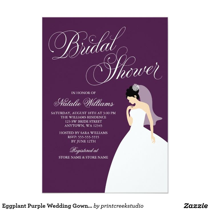 zazzle wedding invitations promo code%0A Eggplant Purple Wedding Gown Bridal Shower Card