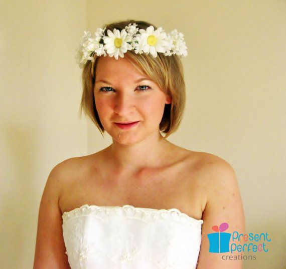 Daisy garland bridal floral crown bridal by PresentPerfectStudio, $130.00