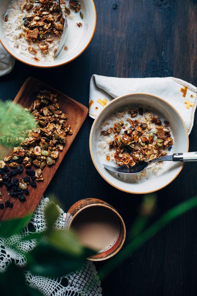 Morning rituals - Chai Spiced Porridge Oatmeal with Hazelnuts