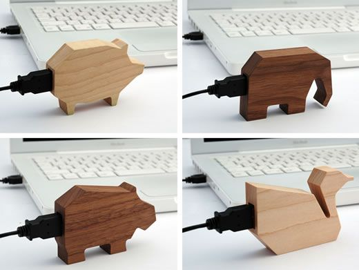 Wooden Animal USB's by Marubeni InfoTech http://www.geekalerts.com/wooden-animal-usb-drives/