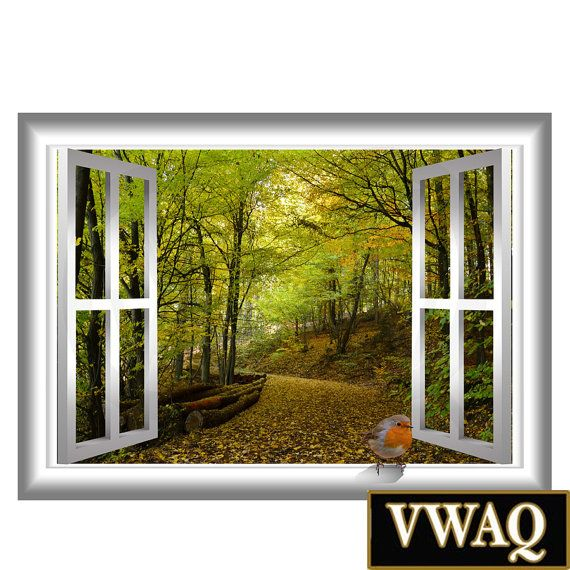 3D Bird Green Trees Pathway Nature Window Frame 3D Pop Wall Art Vinyl Decal Window Frame Peel and Stick Vinyl Home Decor VWAQ-AN5