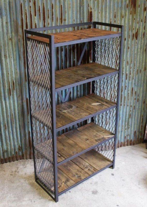 Industrial Bookshelf Industrial Bookcase Wooden Bookcase Bar