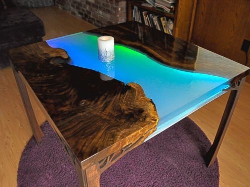 Glowing LED Resin River Table with Tutorial – by F…