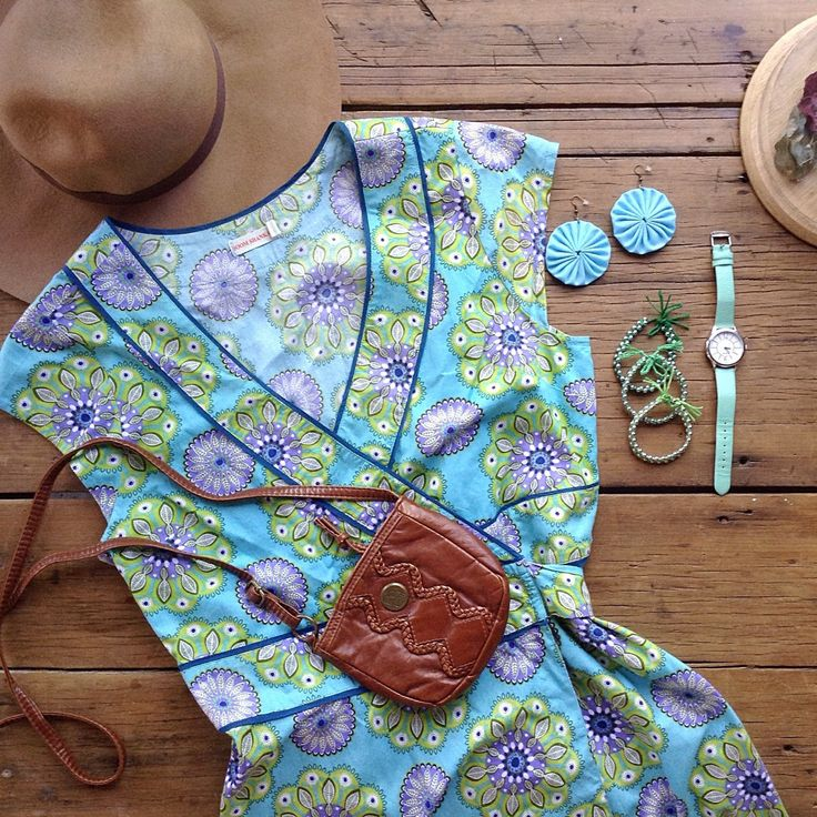 Summer just around the corner, bohemian flatlay featuring my ombre  bracelets, fabric dangle earrings & Boom Shankar wrap dress