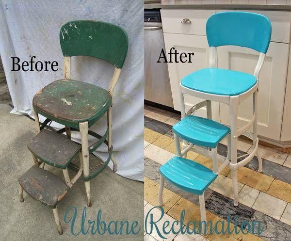 Vintage Teal Step Stool Urbane Reclamation Refurbished
