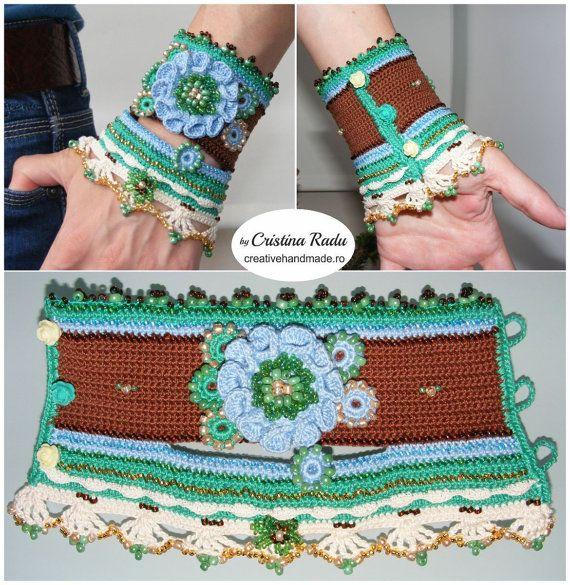 Crochet boho chic bracelet crochet cuff bracelet by raducristina