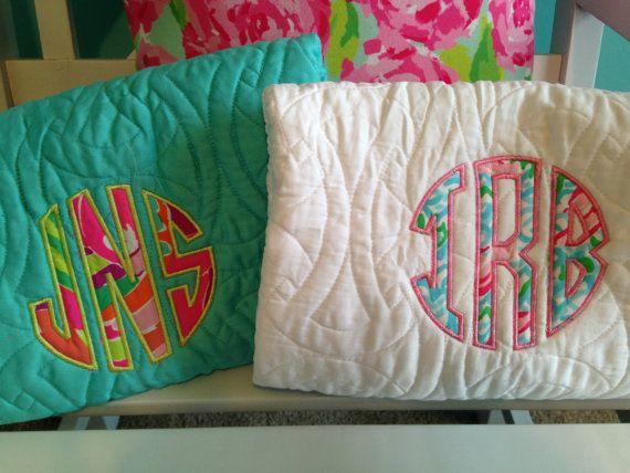 Lilly Pulitzer Fabric Monogram on Trina Turk Bedding Comforter and Shams