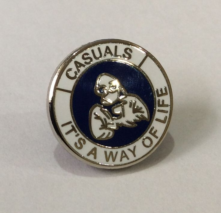 Casuals Enamel Badge Blue/White Millwall hooligans Birmingham City Portsmouth