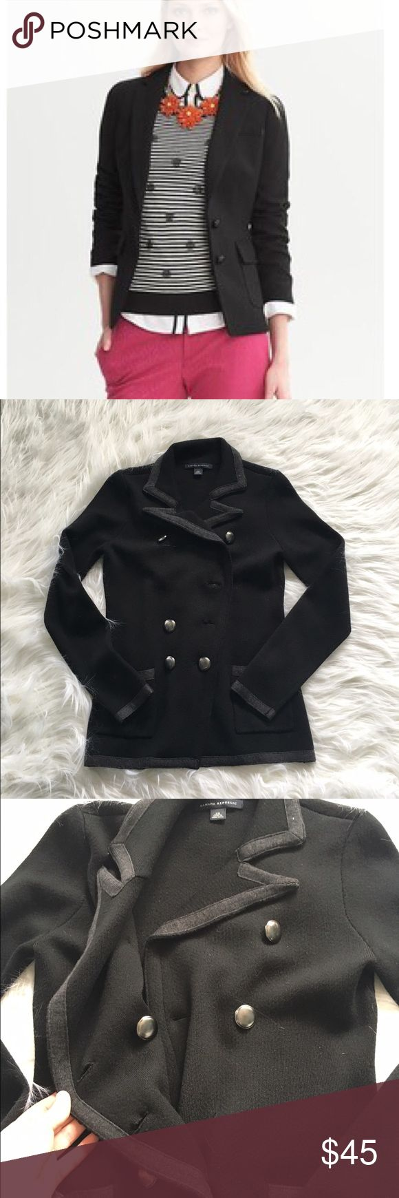 Banana Republic Black Hacking Jacket THERE IS NO BUTTONS MISSING! I just took the photo with the jacket closed. Excellent condition with no flaws and tons of life left! NO TRADES PLEASE Banana Republic Jackets & Coats Blazers