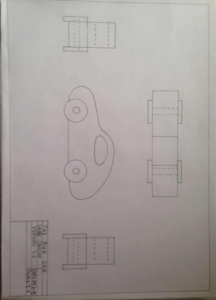 Technical drawing of bug toy car . Plan and sections