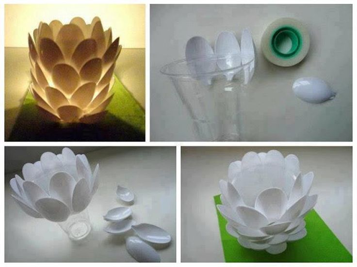 Upcycling DIY theelichthouder van plastic lepels | Budgi
