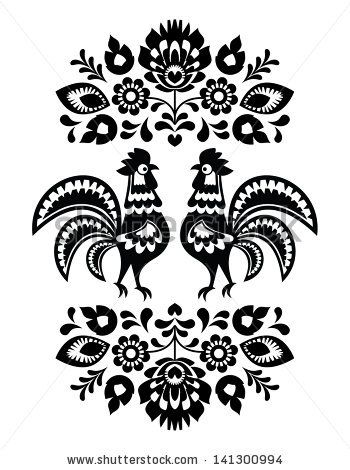 Polish ethnic floral embroidery with roosters in black and white - stock vector