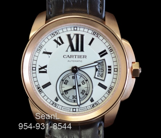 Calibre Cartier 18k Rose Gold/ White Dial 42mm W7100009 Authentic Luxury Watches on Collection of Time