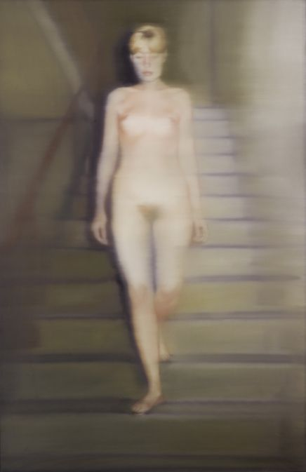 Gerhard Richter, Ema (Nude on a Staircase), saw this at gallery in Cologne, it's the most striking painting there. The figure steps out of the canvas, even though she's a ghost