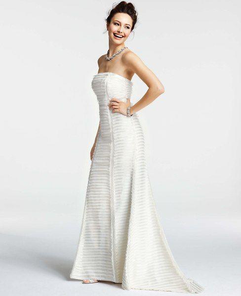 Silk Charmeuse Tiered Strapless Wedding Dress | Ann Taylor