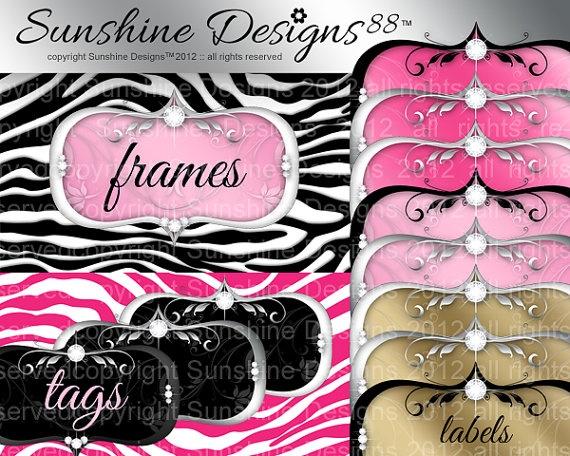Digital Frame Label Download Zebra Background by SunshineDesigns88, $5.98