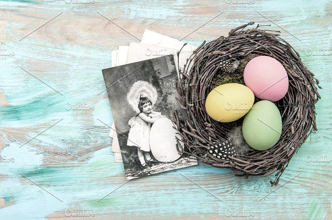 Easter eggs and vintage postcard by LiliGraphie on @creativemarket