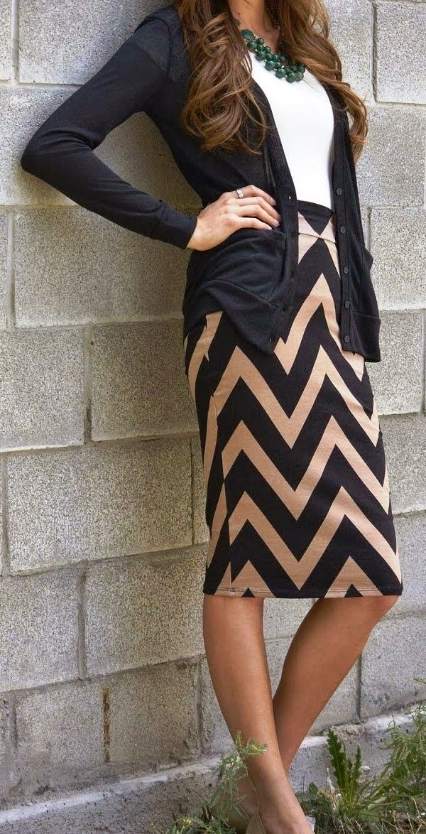 Nude and black chevron skirt white top black cardigan