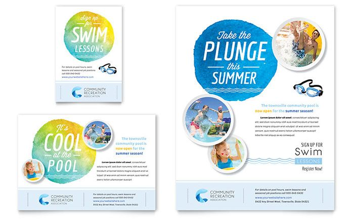 Community Swimming Pool Flyer and Ad Template Design by StockLayouts