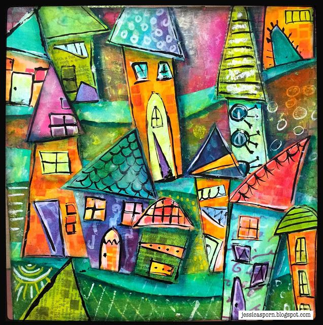 Jessica Sporn art journal http://www.stencilgirltalk.com/2015/09/building-village-with-september-stencil.html