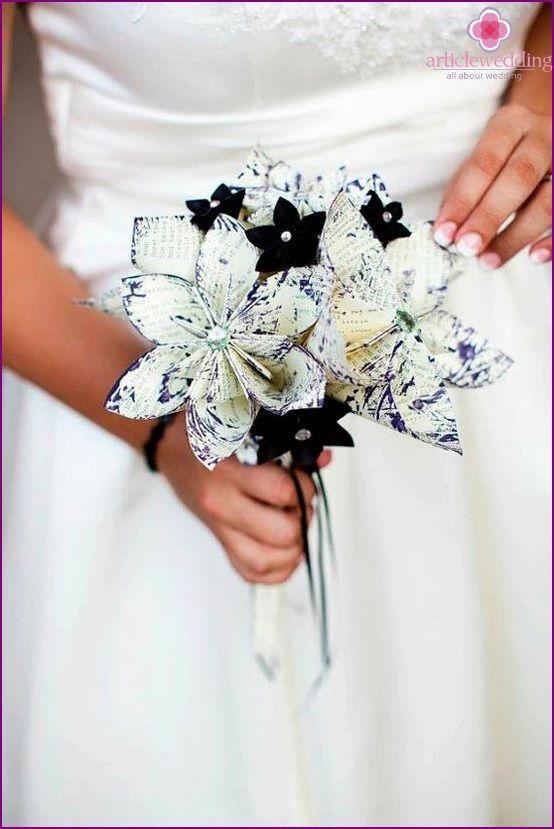 Bouquet sposa in bianco e nero