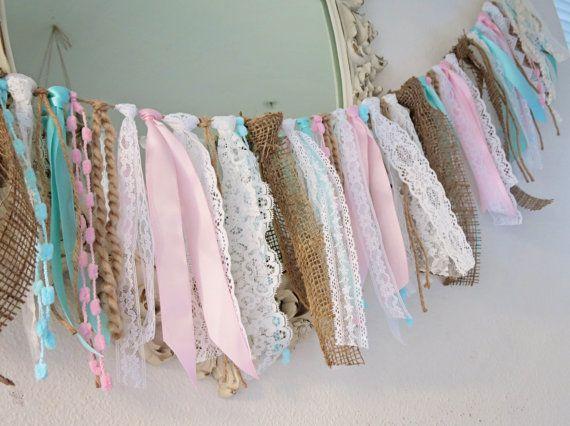 Vintage Wedding & Party Lace Burlap Garland, Alice in Wonderland, Birthday, Tea Party Garland, Gifts under 50 by HeatherVintage88 on Etsy