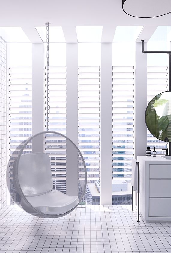 Eero Aarnio Bubble Chair | Urban contemporary bathroom. Design by Eleni Psyllaki @myparadissi